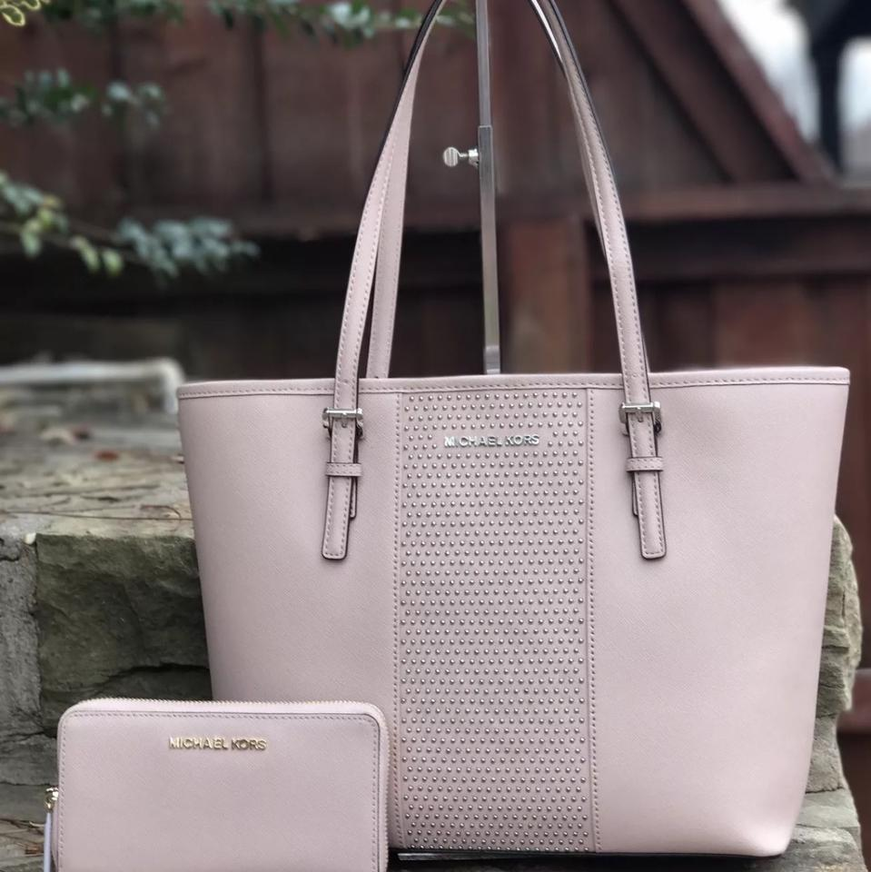 0b01314a7570be Michael Kors - Micro Stud Stripe Travel & Carryall Tote+matching  Continental Ballet Saffiano Leather Tote - Tradesy