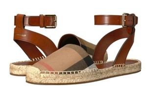 Burberry Espadrille Abbie Signature Check with Leather Trim Sandals