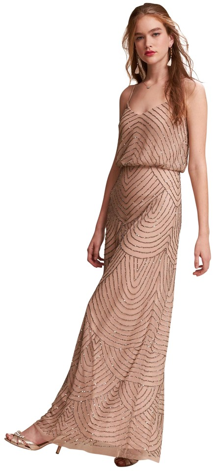 Bhldn Taupe Pink Eclipse Adrianna Papell Art Deco Blouson Beaded