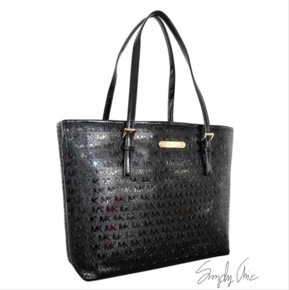 206a9add38458 Michael Kors Monogram Carry All Black Patent Leather Tote - Tradesy