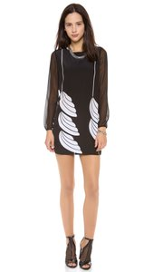 Diane von Furstenberg short dress Black, White Bizzy Wing Skater on Tradesy