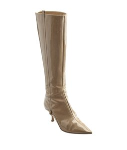 Jimmy Choo Tan Mid - Calf Patent Leather Beige Boots