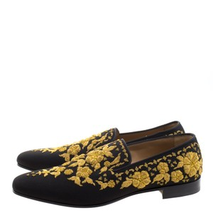 Christian Louboutin Embroidered Academicus Crepe Slippers Size Black Formal