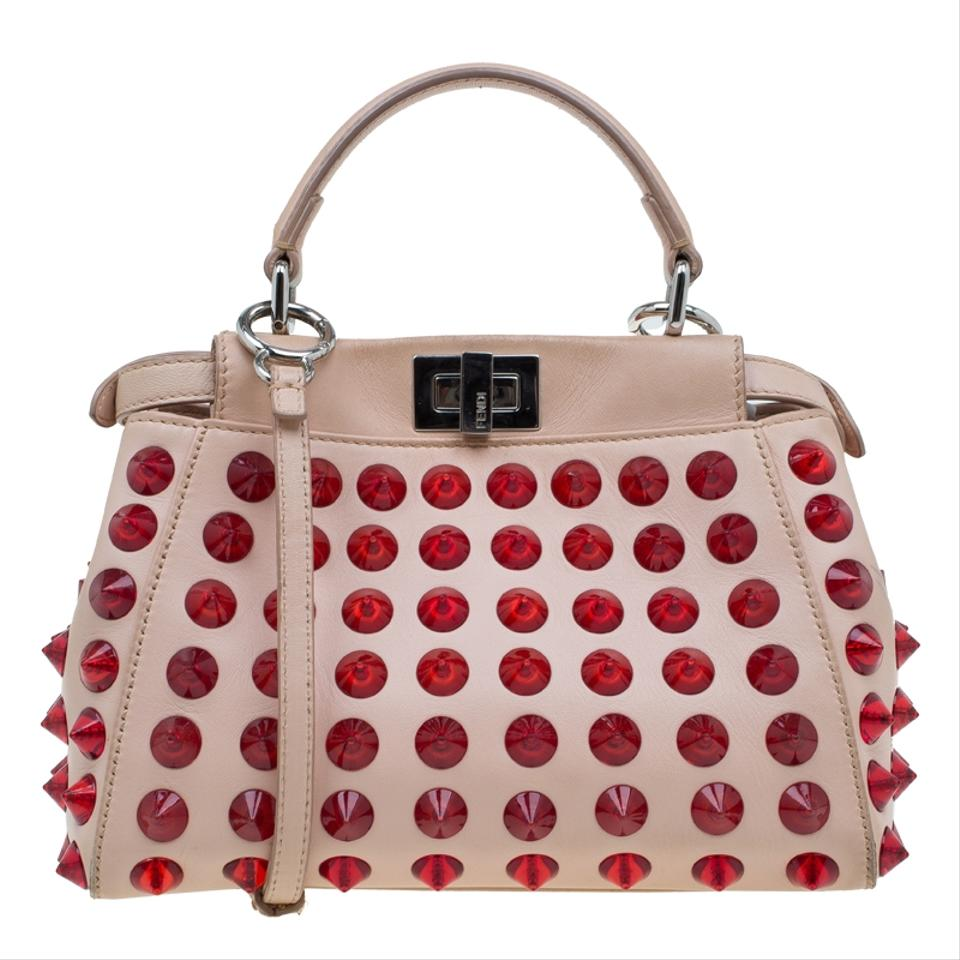 ab02fb844c83 Fendi Pink Red Mini Studded Peekaboo Top Handle Pink Leather Shoulder Bag -  Tradesy