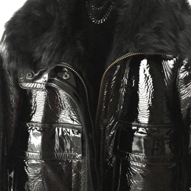 Item - Black Patent Leather and Real Shearling Coat Size 4 (S)