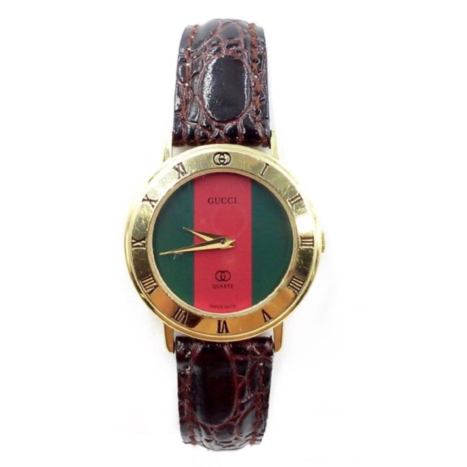 8564f0f7c76 Gucci VINTAGE 3000L 18K Gold Plated Red Green Stripe Lizard Embossed  Leather Image 0 ...