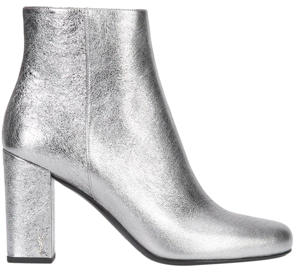 1f959a0fcac4 Saint Laurent Silver Ysl Yves Babies 90 Chelsea Pin Block Heel Ankle  Boots Booties