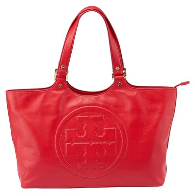Tory Burch Bombe Red Leather Tote 38136 Red Tory Burch