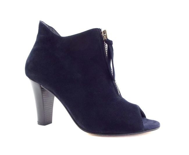 Item - Blue Suede Leather Front Zip Open Toe Boots/Booties Size US 6.5 Regular (M, B)