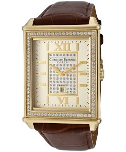 Christian Bernard Men's Highlight Cubic Zirconia and Champagne Dial Brown Leather