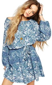 Free People short dress Blue Paisley Print Cut-out on Tradesy