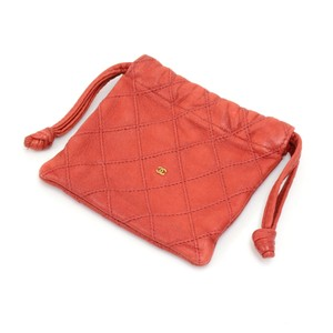 Chanel Vintage Chanel Red Quilted Leather Mini Pouch