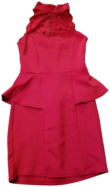 Item - Red Sexy Lace Peplum Short Cocktail Dress Size 4 (S)