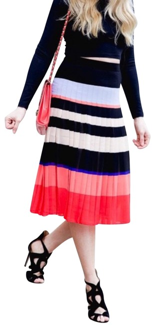 Item - Multi-color Striped Pleated High Waist Skirt Size 00 (XXS, 24)