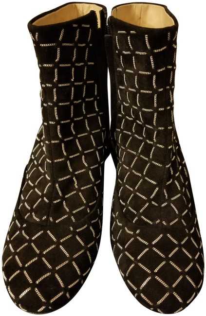Item - Black Chain Link Suede Ankle Boots/Booties Size EU 37 (Approx. US 7) Narrow (Aa, N)