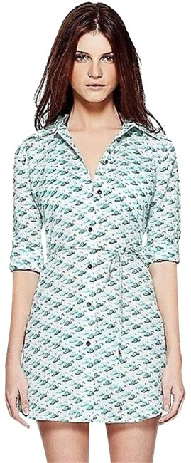 Item - Green Belted Tunic Beach Flamingo Cover-up/Sarong Size 4 (S)