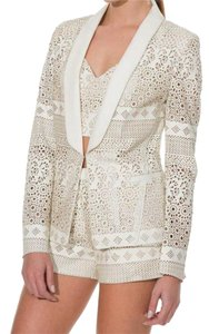 Anthropologie Hook + Eye Closure Lined Super For Summer Animal Friendly Unique Ivory Blazer