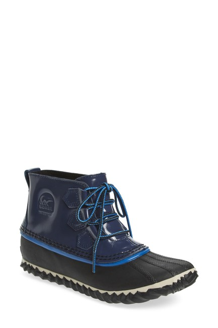 Item - Blue Out N About Waterproof Glossy Leather Short Rain Boots/Booties Size US 6 Regular (M, B)
