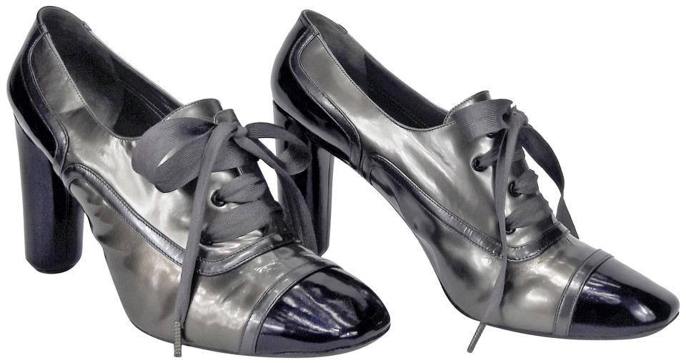 81d57fd6a0cf Marc Jacobs Gray Purple   Silver Patent Leather Lace-up Cap Toe High-heel  Oxford Pumps