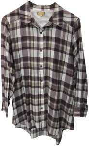 Minnie Rose Plaid Tunic Button Down Shirt Mauve