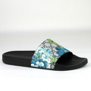 Gucci Blue Men's Bloom Print Flower Slide Sandals 14g /Us 15 407345 8498 Shoes