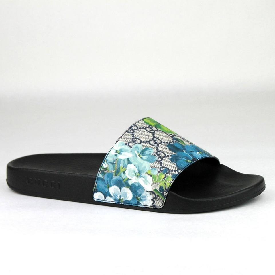 3f480977bce Gucci Blue Men s Bloom Print Flower Slide Sandals 14g  Us 15 407345 8498  Shoes Image ...