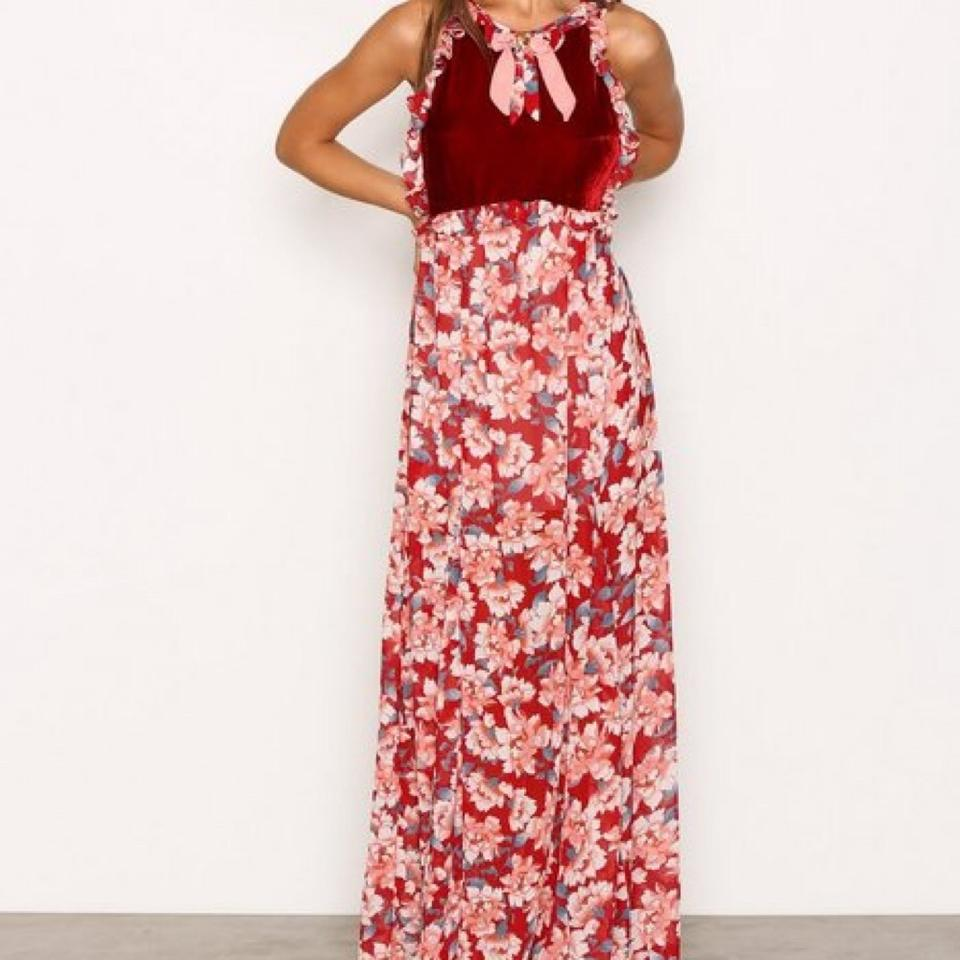 6634586501b For Love   Lemons Red Blossom Floral Long Casual Maxi Dress Size 4 ...
