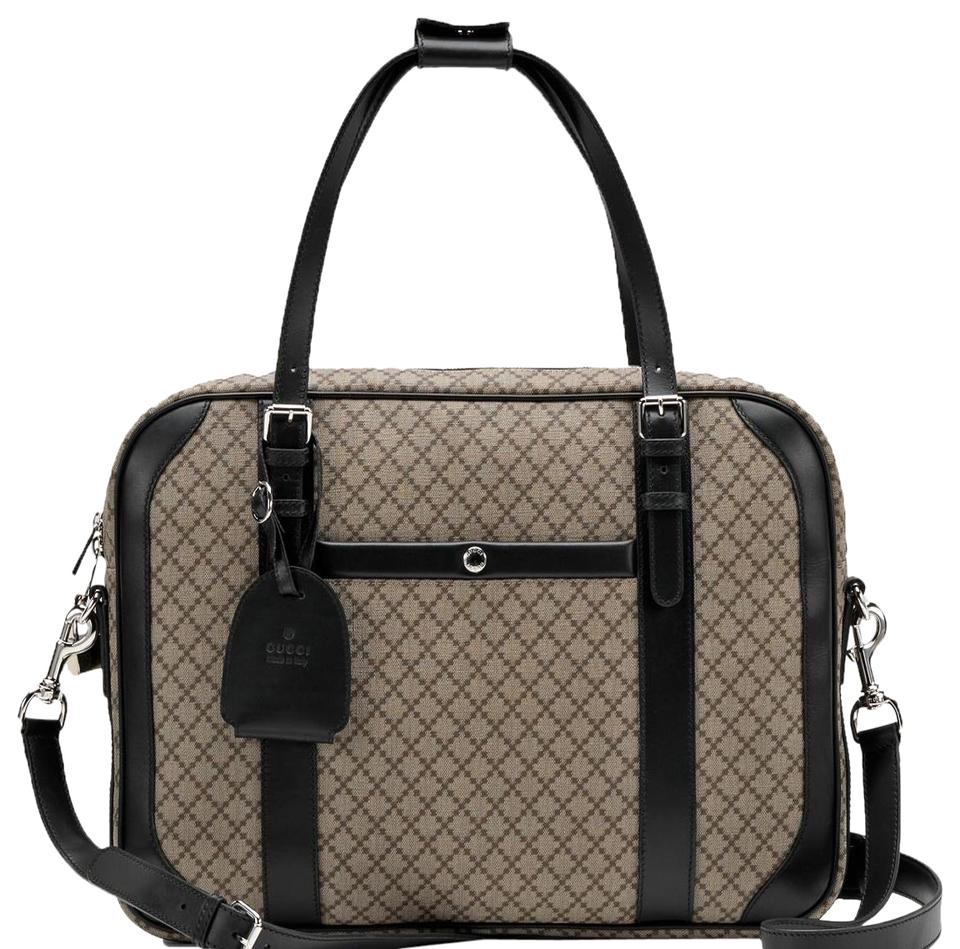 e904be7e2a4c Gucci Men's Diamante and Briefcase 267890 Beige/Black Canvas Weekend/Travel  Bag
