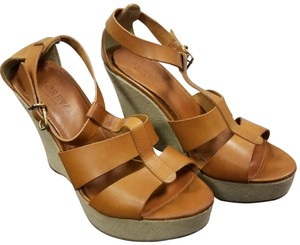 J.Crew Wedge Cognac Brown Sandals