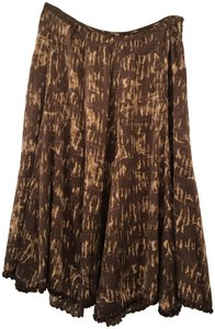 Lafayette 148 New York Silk Sequin Skirt Brown with Tan