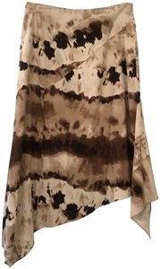 Lafayette 148 New York Silk Skirt Tan with Brown