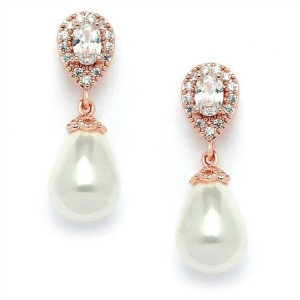 Rose Gold Crystal Pear with Pearl Drop Earrings