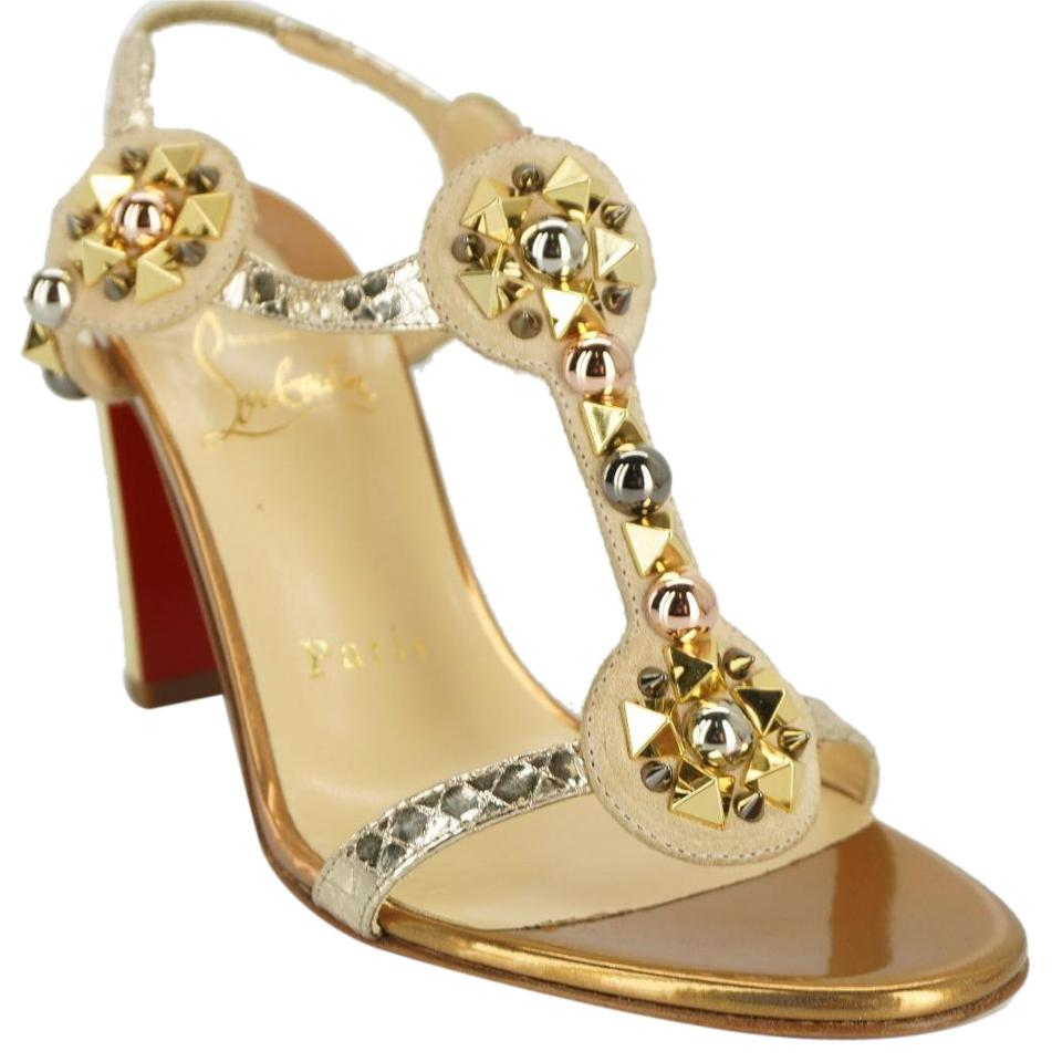 9521e8f68e03 Christian Louboutin Gold Leather Kaleitop Spiked T Ankle Strap High Heel  Sandals Pumps