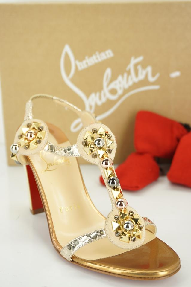 6acb071f572 Christian Louboutin Gold Leather Kaleitop Spiked T Ankle Strap High Heel  Sandals Pumps Size EU 36 (Approx. US 6) Regular (M, B) 48% off retail