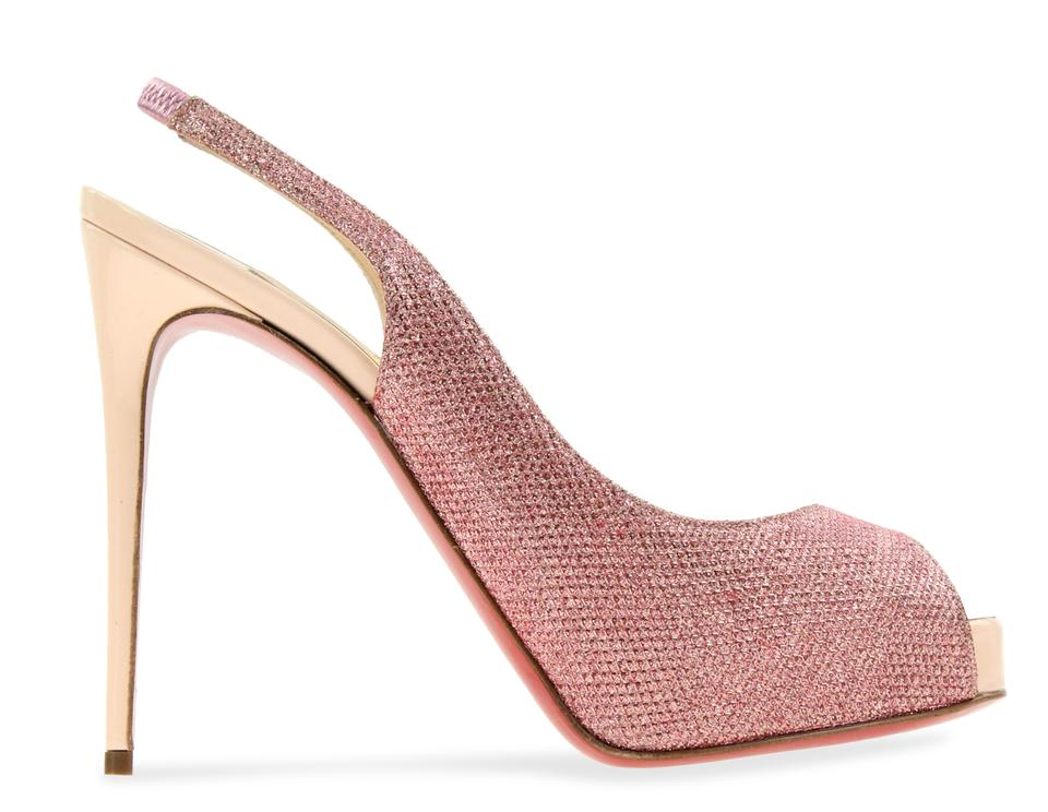 separation shoes 3d0e5 53bc1 Christian Louboutin Pink Glitter Private Number Slingback Pumps Size EU  36.5 (Approx. US 6.5) Regular (M, B) 55% off retail