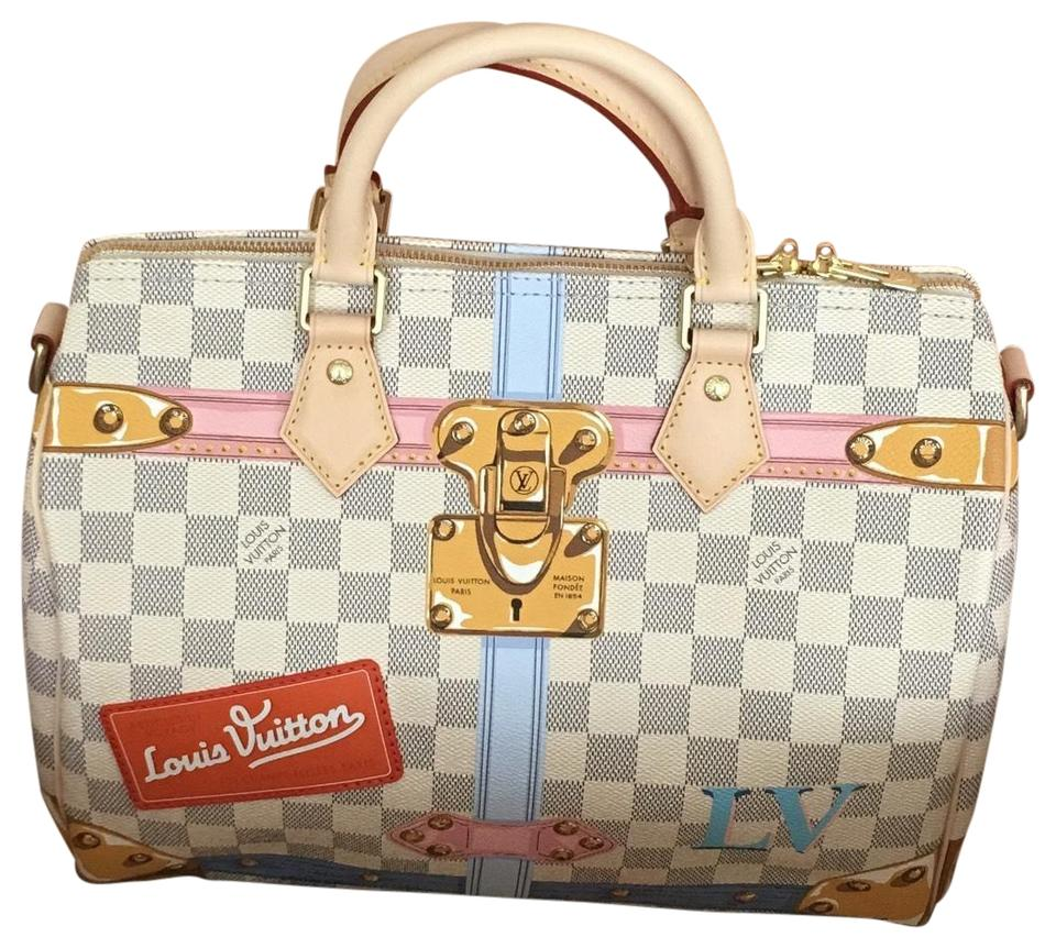 5b0a955817ba Louis Vuitton Speedy Bandouliere 30 Summer Trunk Reserved Deposit Part 1  Damier Azur Leather Hobo Bag