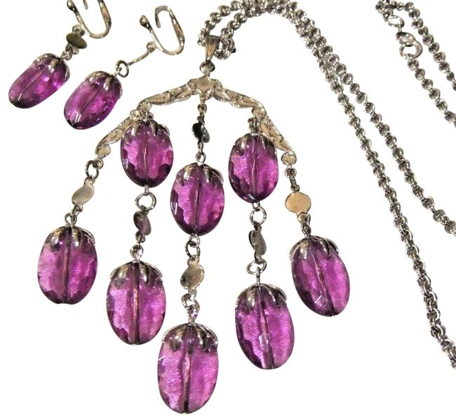 Item - Purple Silver Signed Cov Wisteria Converted Earring Set Necklace