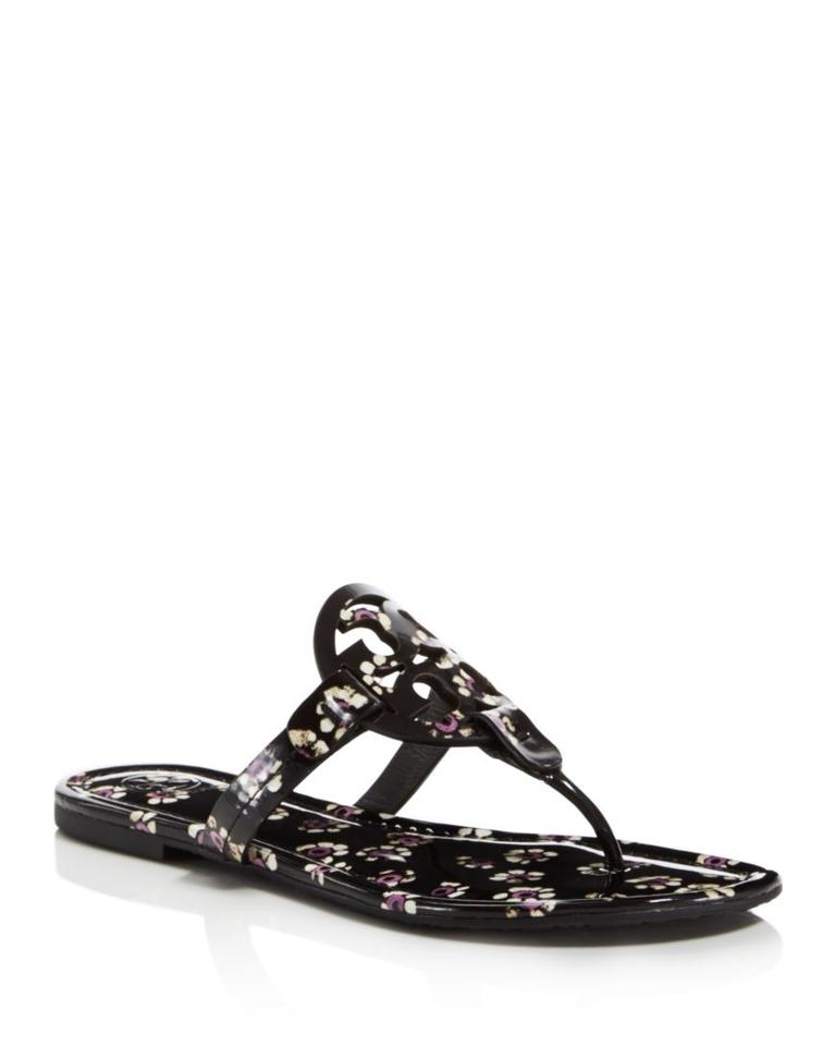 4dd0ad6800c121 Tory Burch Black Stamped Floral 7.5m Miller Printed Patent Sandals ...