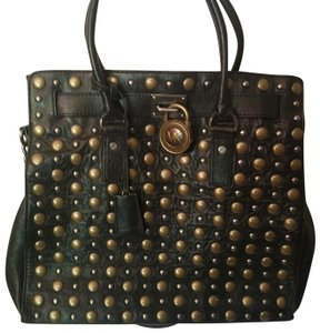 Michael Kors Studded Soft Leather Tote in Black