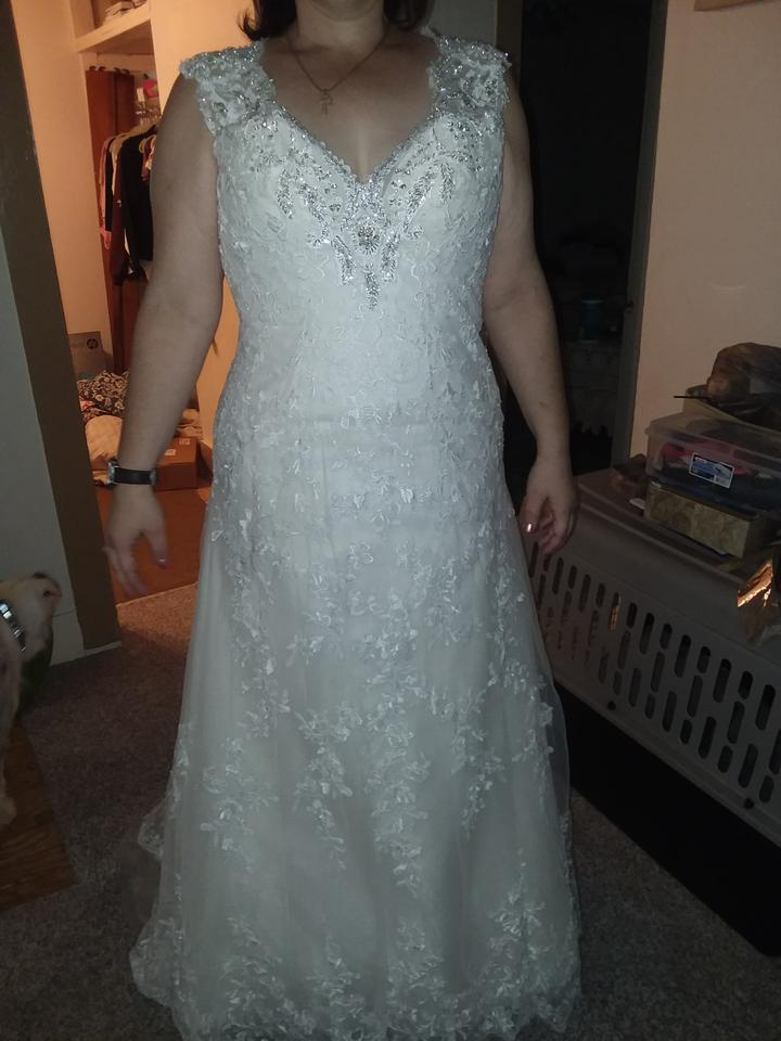Maggie Sottero Ivory Lace Overlay with Tulle Skirt Katyia Feminine ...