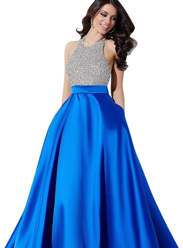 Jovani Silver and Royal Blue 29160 Long Formal Dress Size Petite 6 ...