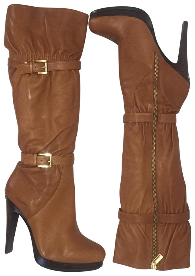 6314dcd5789f MICHAEL Michael Kors Camel Leather Knee Boots Booties Size US 8.5 ...