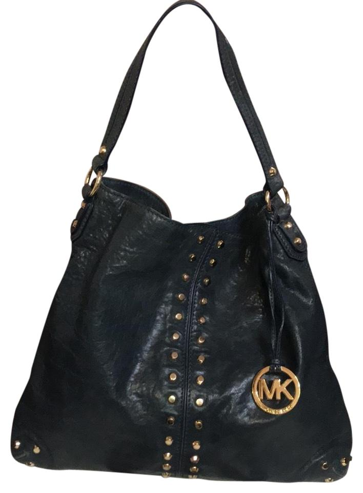163a6e5c7cb8c Michael Kors Studded Uptown Astor Navy Blue Leather Hobo Bag - Tradesy