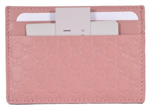 Gucci New Gucci 476010 Soft Pink Leather Micro GG Guccissima Small Card Case