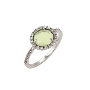 Pomellato Oval Peridot & Diamond 18k White Gold Ring
