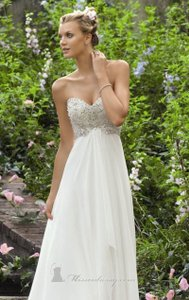 Mori Lee Ivory Chiffon 6741 Sexy Wedding Dress Size 10 (M)