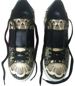Valentino Rubber Sole Leather Upper Army Green Athletic