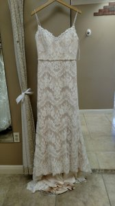 Sottero and Midgley Ivory/Lt. Gold Lace Ester Destination Wedding Dress Size 12 (L)
