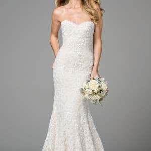 Watters & Watters Bridal Ivory / Almond Lining Lace Copeland 2014b Modern Wedding Dress Size 8 (M)