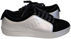 Chanel Tennis Sneakers Leather Velvet Blue and Silver Athletic